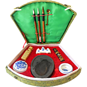 Vintage 11 Piece Asian Calligraphy Set  in Fancy Box