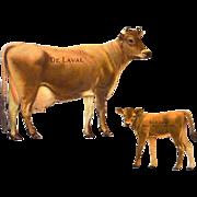 Complete De Laval Die Cut Tin Advertising Souvenir Jersey Cow and Calf 1910-1920