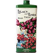 Large Lander Lilac and Roses Talcum Powder Tin Nice Graphics