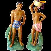 SOLD Pair Tall Vintage Hawaiian/Polynesian Ceramic Figurines