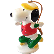 SOLD Vintage Ceramic Snoopy On Roller Skates Christmas Tree Ornament Japan