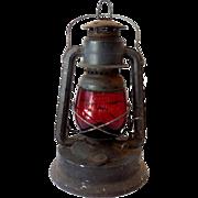 Vintage Dietz Little Wizard Barn Lantern Red Globe
