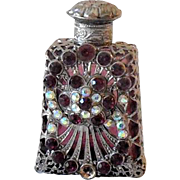 Miniature Purple Glass Perfume Bottle Heavily Jeweled