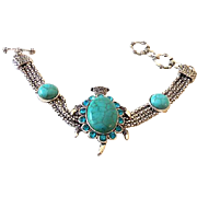 Faux Turquoise and Silver Mesh Bracelet with Large Jeweled Turtle