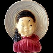 Royal Copley Asian Girl Head Vase/Wall Pocket/Planter