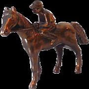 Medium Size Metal Race Horse and Jockey