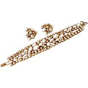 Wide Jeweled Bracelet and Clip Back Earrings Set Signed La Rel