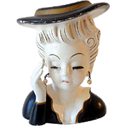 1950s Artmark Japan Lady Head Vase With Pearls