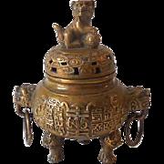 Antique Brass Incense Burner Foo Dog and Dragon