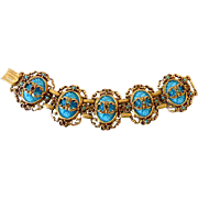 Glitzy  Bracelet  Goldtone With Turquoise Colored Glass Stones