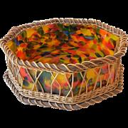 Large Octagon Shaped Czech Art Glass Bowl in Wicker Holder