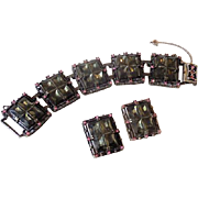 Outrageous Vintage Bracelet and Earrings Set Purple Pink