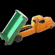 1940s Tootsietoy Die Cast Metal Dump Truck Green & Yellow