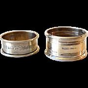 (2) Victorian Era Sterling Silver Napkin Rings English Hallmarks