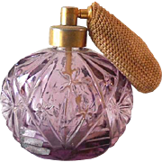 Vintage Irice Purple  Cut Glass Perfume Bottle With Atomizer