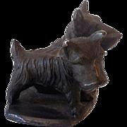 SALE Bronze Finished Cast Iron Scottie Dogs Figurine