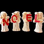 Vintage Set NOEL Christmas Angel Candle Holder Set Japan