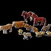 (9) Vintage Miniature Lead Toys Farm Animals