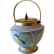 Hand Painted Porcelain with Silver Plated Lid English Biscuit Jar