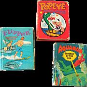 (3) 1960s Big Little Books Flipper Aquaman and Popeye