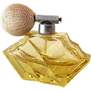 Art Deco Era Yellow Crystal Perfume Bottle With Atomizer Germany