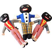 SALE (3) Vintage Golliwog Plush Dolls