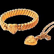 Rare Signed 12KGF Child's Necklace and Bracelet Hearts Set