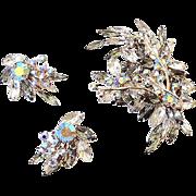 HUGE Vintage Rhinestone Brooch and Matching Earrings