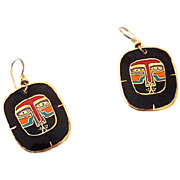 Signed Laurel Burch Mayan Lion Earrings Black and Red