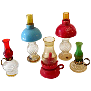 (5) Miniature Oil Lamps (3) Dollhouse (2) Perfume Bottles