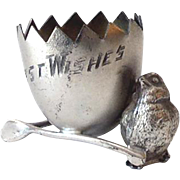Victorian Silver Plated Figural Chicken Egg Cup or Toothpick Holder