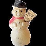 Paper Mache` Kentucky Bourbon Snowman Christmas Bottle Topper 13 Inch
