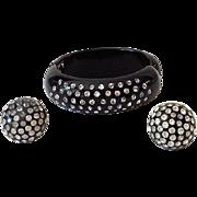 Vintage 1940s-50s  Thermoset Plastic & Rhinestones Bracelet & Earrings