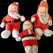 (3) Vintage Rubber Face Plush Santa Claus Dolls