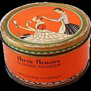 Full Size Tin Lithograph Richard Hudnut Three Flowers Powder Tin with Puff