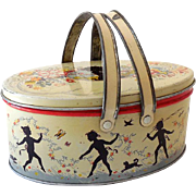 1940 Transogram Tin Litho Picnic Basket Style Lunchbox Forest Nymphs