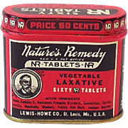 Vintage Nature's Remedy Laxative Pills in Great Tin Litho Tin