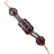 Silver Turquoise and Lapis Bracelet