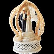 Fancy Vintage Wedding Cake Topper Chalkware Bride & Groom 1947 M