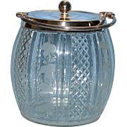 SALE Antique Biscuit Jar -  Etched and Cut Glass with Ivy Pattern
