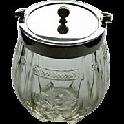 SALE Antique Walker and Hall Glass Biscuit Jar