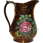 Copper Luster Pitcher with Floral Decoration, 7.5 Inches Tall, 19th Century