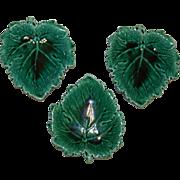 SOLD Three Wedgwood Green Majolica Leaf Shaped Dishes