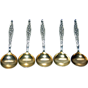 SALE 5 Whiting Lily of the Valley Sterling Bouillon Spoons with Gold Wash