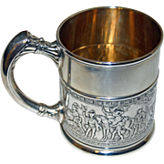 Antique Sterling Gorham Mug with Medieval Scene, 1886