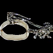 SALE PENDING Antique Sterling Napkin Ring - Reindeer Pulling Ring w Driver & Reins 1903, H