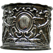 Antique (1905) English Sterling Repousse Napkin Ring with Cherubs, Hallmarked