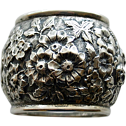 SALE Antique Sterling Napkin Ring with Repousse Old-fashioned Roses and Other Blooms
