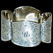 Antique English Sterling Napkin Ring, 1893, Monogram U, by Hutton, Hallmarked
