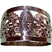 1929 Walker & Hall Floral Sterling Napkin Ring, Reticulated, Hallmarked, English
